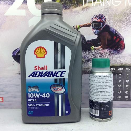 Nhớt Shell Ultra 10W40 1L và súc động cơ Bluechem