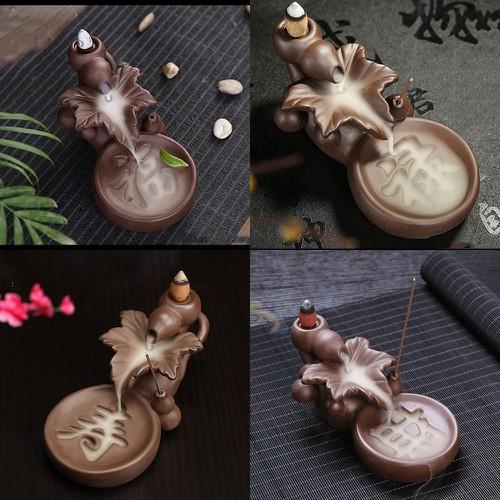 Combo 4 Thác khói trầm hương tượng chiếc lá khắc chữ Phúc Lộc Thọ Tài màu nâu tặng 10 nụ trầm hương