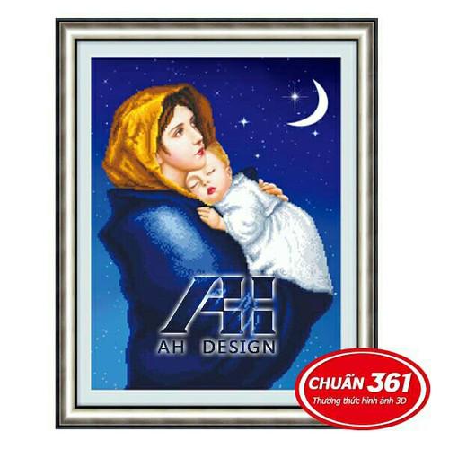 Tranh thêu chữ thập 3d Đức mẹ bồng chúa Jesus AL53379
