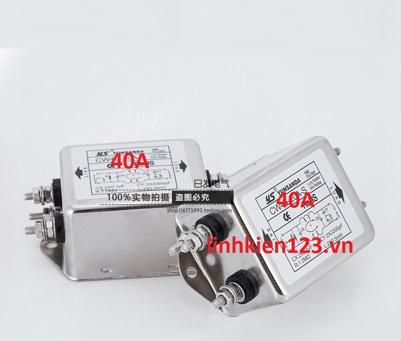 Bộ lọc nhiễu 1 pha 220V 40A lọc kép 1
