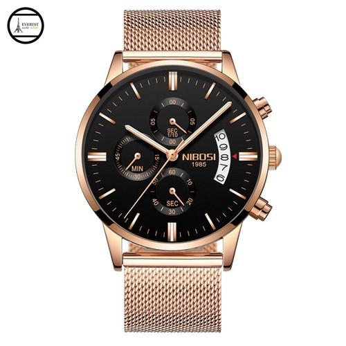 Đồng hồ nam NIBOSI 2309 lưới đồng mặt đen, hàng chính hãng, fullbox