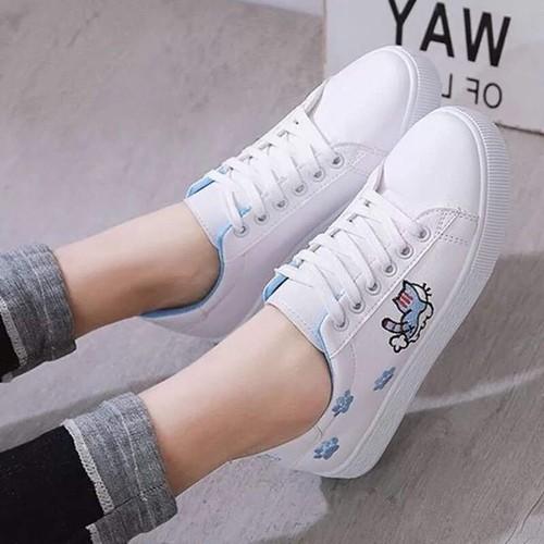 Giầy thể thao nữ trắng lót xanh