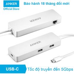 Bộ chia cổng ANKER USB-C Hub, Ethernet và Power Delivery - A8302 - Trắng