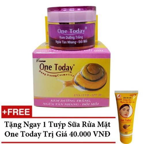 Kem DưỡngTrắng Ngừa Tàn Nhang Đồi Mồi Ốc Sên One Today 15g tặng Sữa Rửa Mặt One Today giá chỉ 89.000 ₫ - 8800409 , 17981306 , 15_17981306 , 218900 , Kem-DuongTrang-Ngua-Tan-Nhang-Doi-Moi-Oc-Sen-One-Today-15g-tang-Sua-Rua-Mat-One-Today-gia-chi-89.000--15_17981306 , sendo.vn , Kem DưỡngTrắng Ngừa Tàn Nhang Đồi Mồi Ốc Sên One Today 15g tặng Sữa Rửa Mặt One
