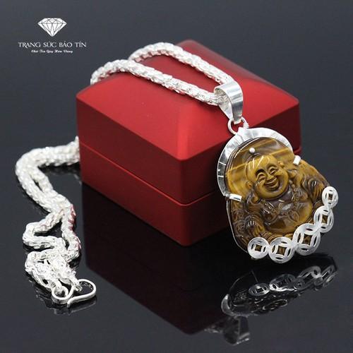 Nhập SXUON05059 Nhận Giảm Giá,Dây Chuyền 2 Đầu Rồng Mặt Phật Di Lặc 5 Đồng Xu - Bảo Tín