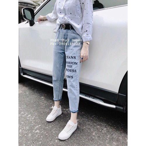 Quần Baggy Jeans Nữ In Chữ Xinh Xắn Cá Tính