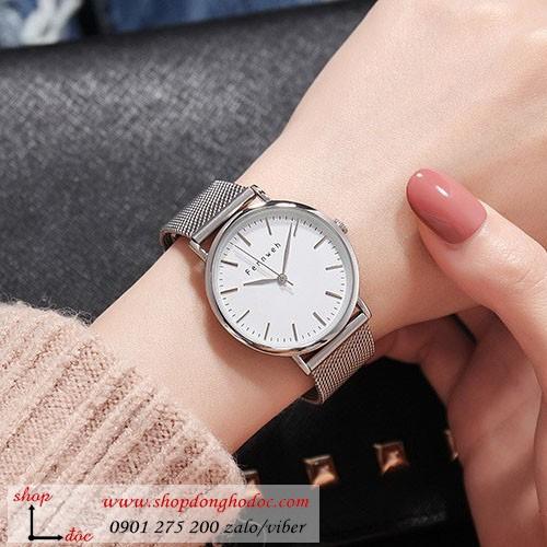 Đồng hồ nữ dây kim loại lưới bạc mặt tròn trắng thanh lịch Fernweh ĐHĐ9101 - CHÍNH HÃNG - FULLBOX - TẶNG LẮC TAY + 2 PIN NHẬT - 6762813 , 13460090 , 15_13460090 , 999000 , Dong-ho-nu-day-kim-loai-luoi-bac-mat-tron-trang-thanh-lich-Fernweh-DHD9101-CHINH-HANG-FULLBOX-TANG-LAC-TAY-2-PIN-NHAT-15_13460090 , sendo.vn , Đồng hồ nữ dây kim loại lưới bạc mặt tròn trắng thanh lịch Fern