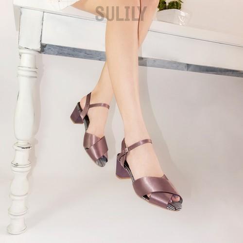 Giày Sandal Gót Vuông Quai Chéo Satin Sulily SGV2-IV18TIM