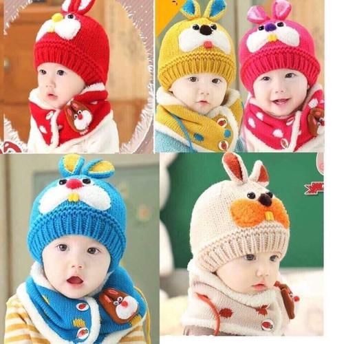 set khăn mũ len tai thỏ lót lông
