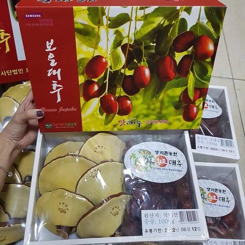 Nấm linh chi và táo đỏ hộp quà biếu cao cấp