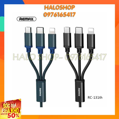 Cáp sạc remax 3 đầu Ligthning II Micro USB II Type-C chính hãng bảo hành 12 tháng [LM458]
