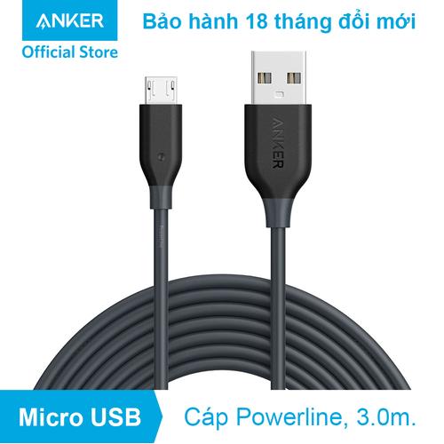 Cáp sạc ANKER PowerLine Micro USB - Dài 3.0m - A8134 - Xám - 6765259 , 13463084 , 15_13463084 , 200000 , Cap-sac-ANKER-PowerLine-Micro-USB-Dai-3.0m-A8134-Xam-15_13463084 , sendo.vn , Cáp sạc ANKER PowerLine Micro USB - Dài 3.0m - A8134 - Xám
