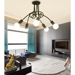 đèn chùm phòng khách thả dây xoắn 5 chao thủy tinh TH138