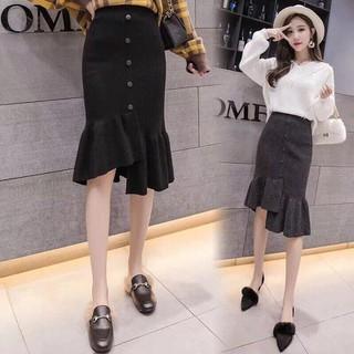Chân váy len đuôi cá lệch tà cúc giữa thời trang CV188 - 188 thumbnail