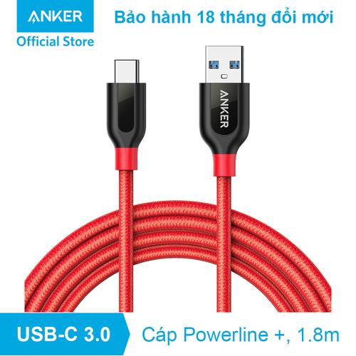 Cáp sạc ANKER PowerLine+ USB 3.0 ra USB-C - 1.8m - A8169 - Đỏ