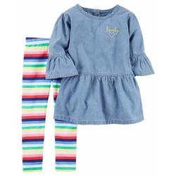 Set áo denim tay dài phối quần kẻ màu bé gái Carters Cambo xuất xịn