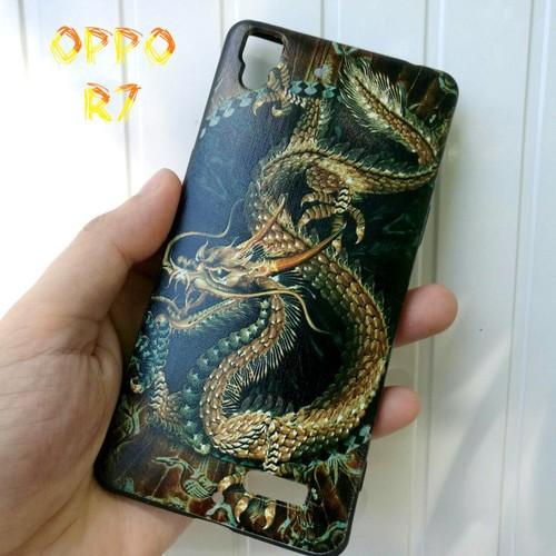 Ốp Lưng Oppo R7 Rồng Vàng Nền Đen 3D