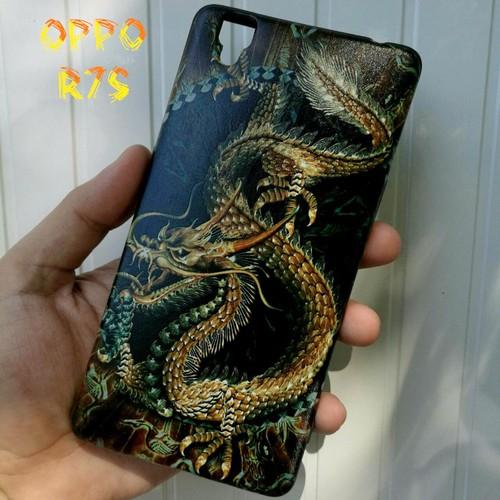 Ốp Lưng Oppo R7s Rồng Vàng Nền Đen 3D