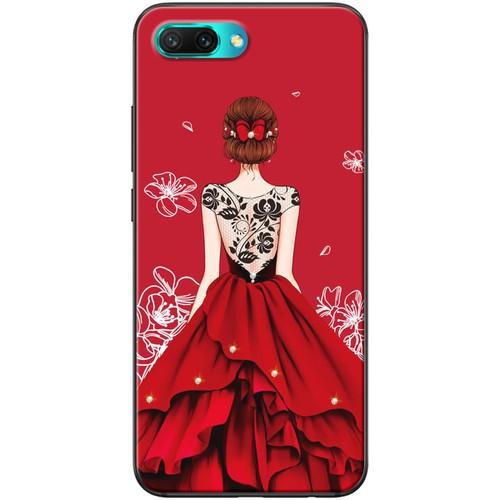 Ốp lưng nhựa dẻo Honor 10 Váy đỏ ren lưng