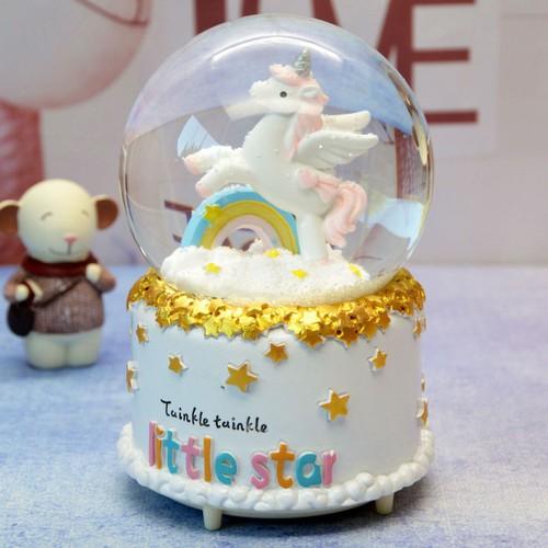 Quả cầu tuyết ngựa unicorn có nhạc có đèn thổi tuyết MẪU 2 BỞI WINWINSHOP88