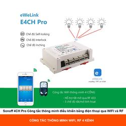 Sonoff 4CH Pro - Công Tắc Điều Khiển Từ Xa Wifi 3G 4G RF 433mhz