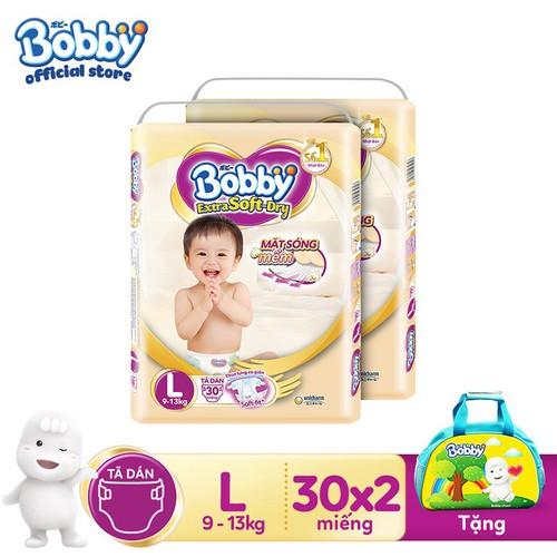 [Tặng 1 túi mẹ bé màu ngẫu nhiên] Bộ 2 gói Tã Dán Bobby Extra Soft Dry L30 - 4573655 , 13484914 , 15_13484914 , 330000 , Tang-1-tui-me-be-mau-ngau-nhien-Bo-2-goi-Ta-Dan-Bobby-Extra-Soft-Dry-L30-15_13484914 , sendo.vn , [Tặng 1 túi mẹ bé màu ngẫu nhiên] Bộ 2 gói Tã Dán Bobby Extra Soft Dry L30