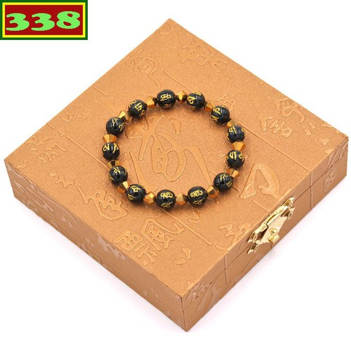 Vòng chuỗi đeo tay phong thủy đá thạch anh đen Phật chú 8 ly FTTEV37 kèm hộp gỗ
