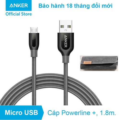 Cáp sạc ANKER PowerLine+ Micro USB - Dài 1.8m - A8143 - Xám - 4572572 , 13477702 , 15_13477702 , 260000 , Cap-sac-ANKER-PowerLine-Micro-USB-Dai-1.8m-A8143-Xam-15_13477702 , sendo.vn , Cáp sạc ANKER PowerLine+ Micro USB - Dài 1.8m - A8143 - Xám