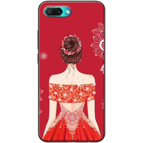Ốp lưng nhựa dẻo Honor 10 Váy đỏ tóc búi