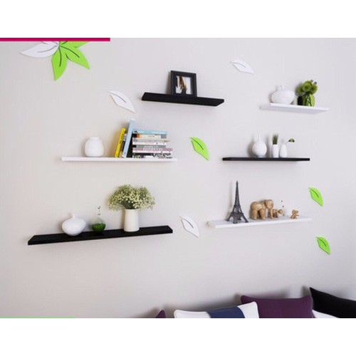 kệ treo tường 2 bộ 6 thanh ngang trắng đen dài 60x15cm