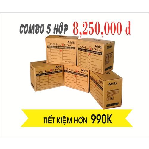 Combo mực in Hiti Cs200e siêu tiết kiệm, Ruy băng màu YMCKO CS200e chính hãng