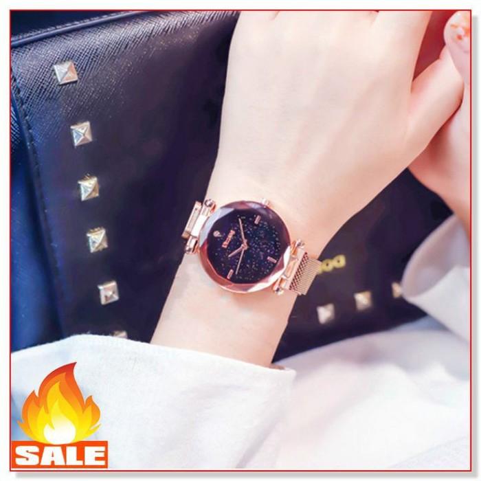 Đồng hồ nữ dây nam châm màu xanh tặng lắc tay