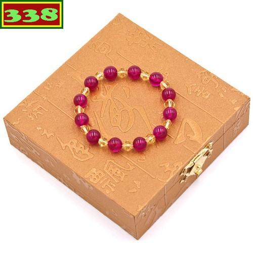Vòng chuỗi đeo tay đá thạch anh đỏ 8 ly FTTOV40 kèm hộp gỗ