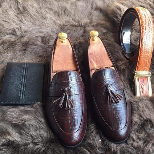 Giày lười nam da bò