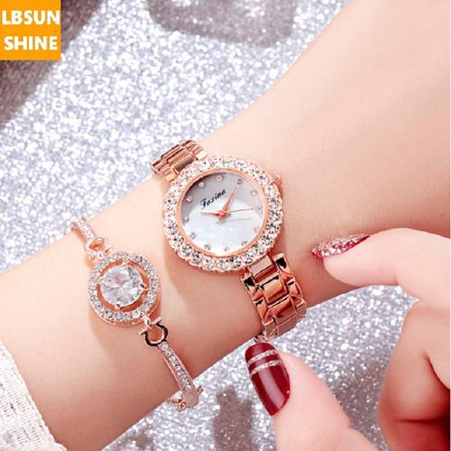 [SIÊU SALE + TẶNG VÒNG ĐÁ KIM CƯƠNG] Đồng hồ Jasina chính hãng mặt đá viền kim cương phủ Saphiar chống xước chống nước tuyệt đối V-DH-LACTAY