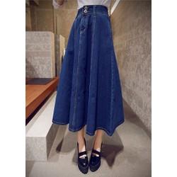 Chân váy jean xòe dài 2 nút - Váy nữ xòe