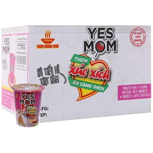 Mì Yes Mom hủ tiếu thịt bằm xúc xích thùng 24 ly x 76g