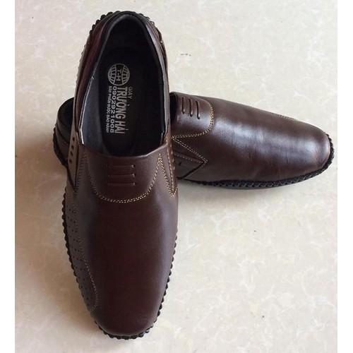 Giày mọi nam nâu da bò thật mềm mại THM016