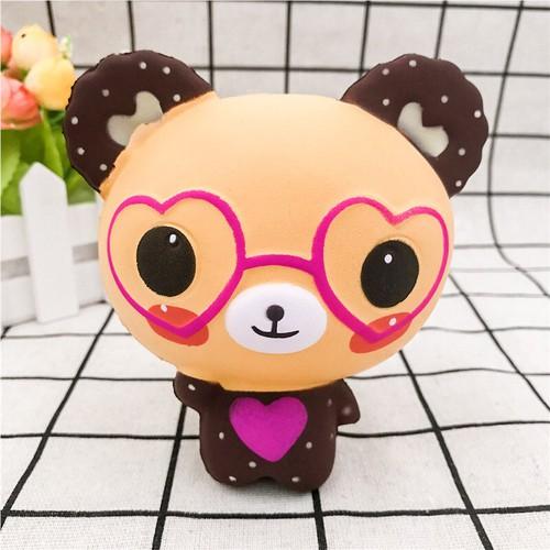 Squishy gấu kute đeo kính