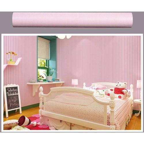 10m giấy dán tường khổ 45cm họa tiết sọc hồng nhuyễn