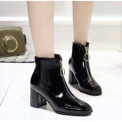 Giày boot đế vuông da bóng BDV22