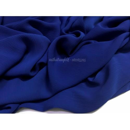 Vải chiffon nhún Hàn Quốc màu xanh coban sang trọng