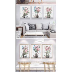 tranh đính đá bình hoa hồng ba bức đẹp 120x50cm