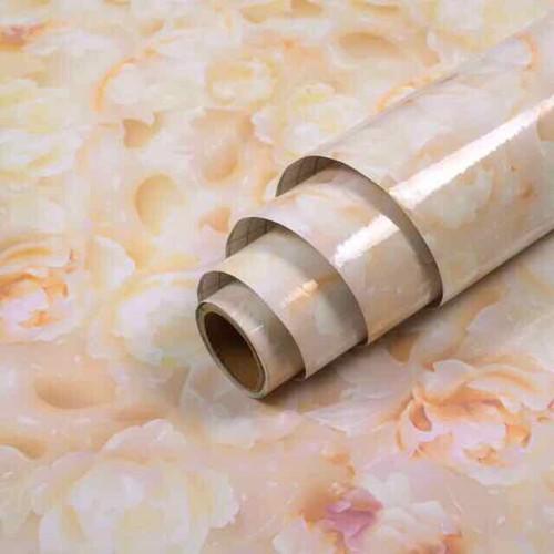 10m giấy dán tường giả đá hoa cương trơn chịu nhiệt lau chùi tốt có sẵn keo khổ 45cm