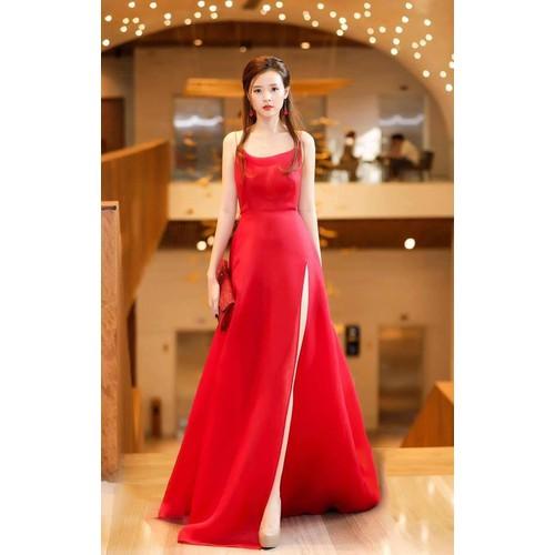 Đầm dạ hội kiểu hai dây xòe xẻ tà