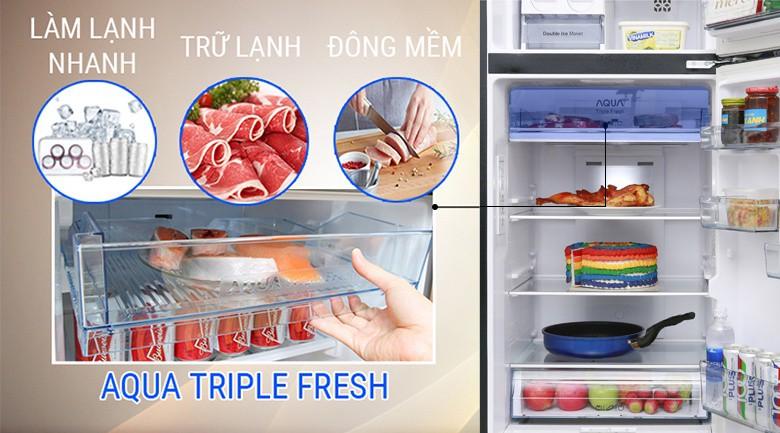 Làm lạnh nhanh chóng với luồng lạnh đa chiều - Tủ lạnh Aqua Inverter 373 lít AQR-IG386DN GBN