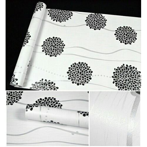Giấy dán tường hoa cúc đen nền trắng kết hợp vân sóng bạc - 6823799 , 13533566 , 15_13533566 , 110000 , Giay-dan-tuong-hoa-cuc-den-nen-trang-ket-hop-van-song-bac-15_13533566 , sendo.vn , Giấy dán tường hoa cúc đen nền trắng kết hợp vân sóng bạc