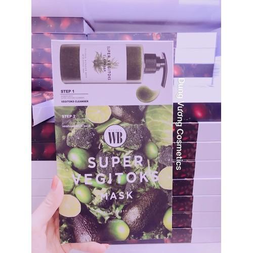 MẶT NẠ SỮA RỬA MẶT THẢI ĐỘC RAU CỦ SUPER VEGITOKS MASK 2in1