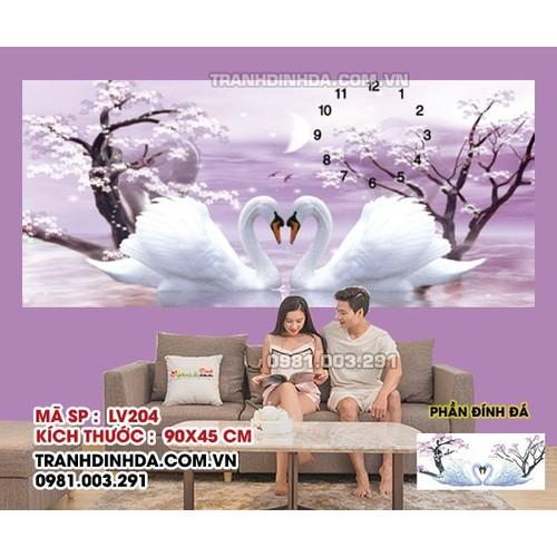 Tranh đính đá cao cấp Lavender Uyên Ương Hạnh Phúc LV204 Kích thước 90cm x 45cm