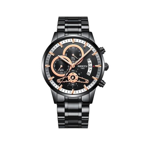 Đồng hồ nam NIBOSI 2309-1 dây thép đúc 6 kim lịch ngày cao cấp AZ-23091